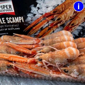 box of whole raw scampi